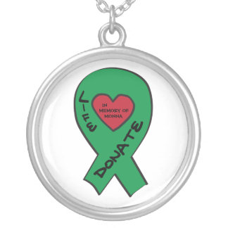 """Green Ribbon - In memory of  """"Enter your own name"""" Silver Plated Necklace"""