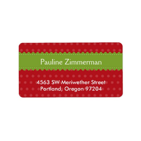 Green ribbon jolly festive red Christmas holiday Label
