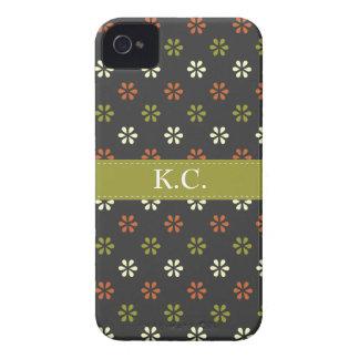 Green ribbon monogram mini mod flowers pattern iPhone 4 case