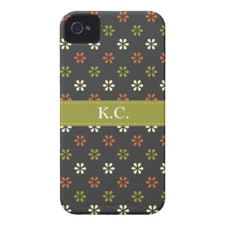 Green ribbon monogram mini mod flowers pattern iPhone 4 covers