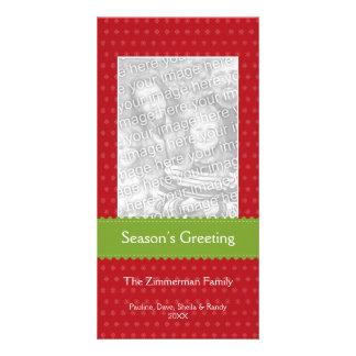 Green ribbon red custom Christmas holiday greeting Card