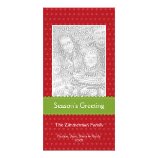 Green ribbon red custom Christmas holiday greeting Photo Card