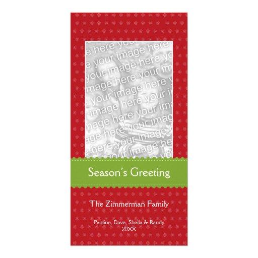 Green ribbon red custom Christmas holiday greeting Customized Photo Card
