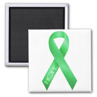 Green Ribbon Square Magnet