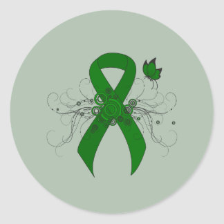 Green Ribbon with Butterfly Round Stickers