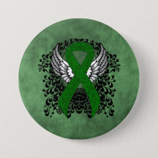 Green Ribbon with Wings 7.5 Cm Round Badge