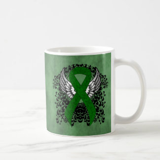 Green Ribbon with Wings Coffee Mug