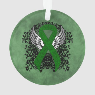 Green Ribbon with Wings Ornament