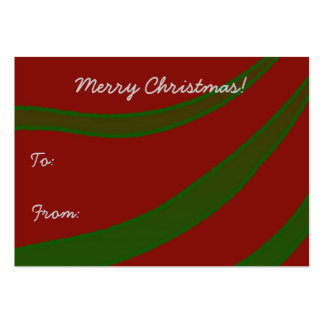Green Ribbons on Red Christmas Gift Tag Business Card