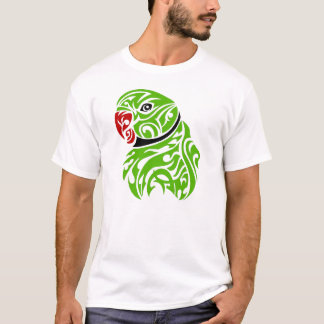 Green ringneck parrot tattoo T-Shirt