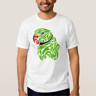 Green ringneck parrot tattoo tee shirts