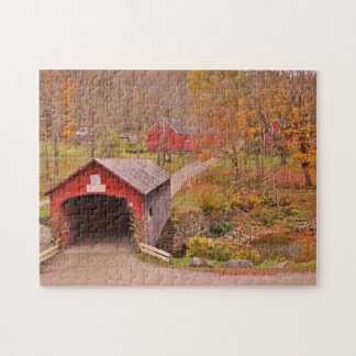 Green River Covered Bridge and Barn in the Fall Puzzles