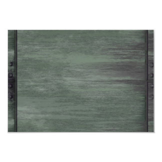 Green riveted steel texture 3.5x5 paper invitation card