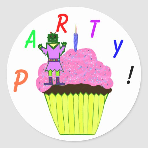 Green Robot Girl and Pink Cupcake Birthday Party Round Sticker