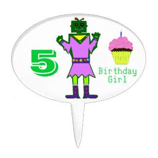 Green Robot Girl Pink Cupcake 5th Birthday Cake Picks