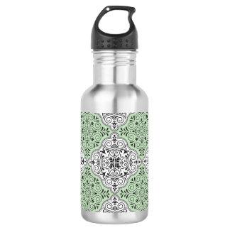 Green Rococo Pattern Flourish 532 Ml Water Bottle