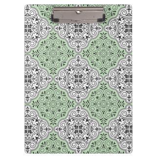 Green Rococo Pattern Flourish Clipboard
