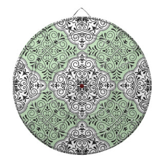 Green Rococo Pattern Flourish Dartboard