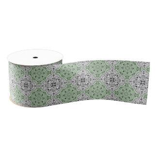 Green Rococo Pattern Flourish Grosgrain Ribbon