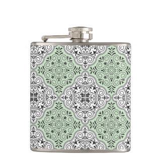 Green Rococo Pattern Flourish Hip Flask