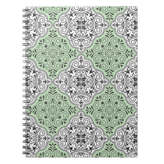 Green Rococo Pattern Flourish Notebook