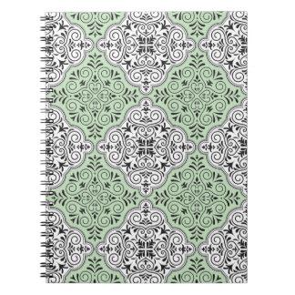 Green Rococo Pattern Flourish Notebooks