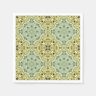 Green Rococo Pattern Flourish Paper Napkin