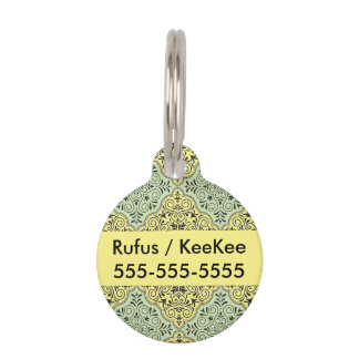 Green Rococo Pattern Flourish Pet Name Tag