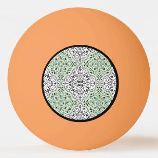 Green Rococo Pattern Flourish Ping Pong Ball