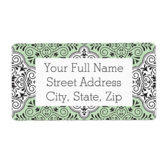 Green Rococo Pattern Flourish Shipping Label