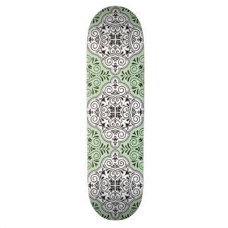 Green Rococo Pattern Flourish Skateboard Deck