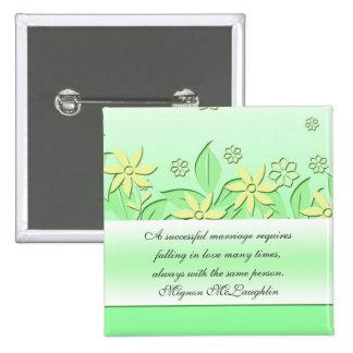 Green Romantic Garden Quotes Button Button
