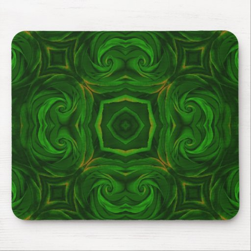 Green Rose abstract mouse pad