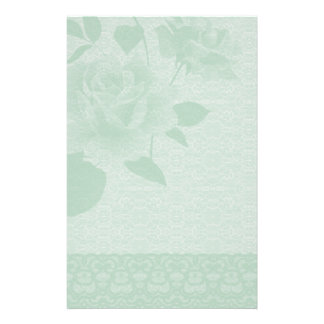 Green Rose and Lace Paper Stationery