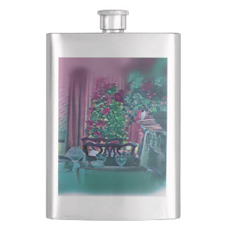 Green Rose Background Christmas Tree Hip Flask