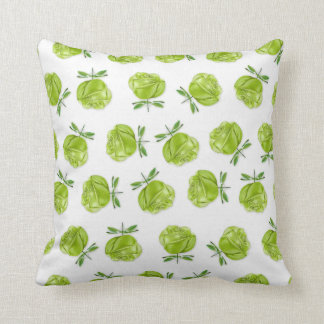 Green Roses in Rows Throw Pillow