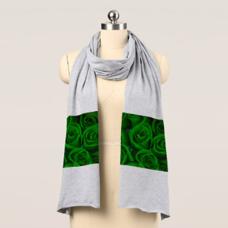 Green Roses on Grey Scarf