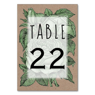 Green roses vintage wedding wedding table number