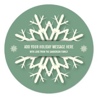Green Round Hangable Snowflake Christmas Photocard 13 Cm X 13 Cm Square Invitation Card