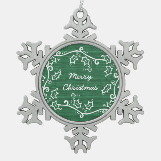 Green Rustic Holly Snowflake Ornament