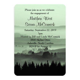 Green Rustic Mountain Engagement Party Invitation