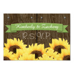 GREEN RUSTIC SUNFLOWER RSVP CARD PERSONALIZED ANNOUNCEMENT