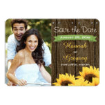 GREEN RUSTIC SUNFLOWER SAVE THE DATE CARD 13 CM X 18 CM INVITATION CARD