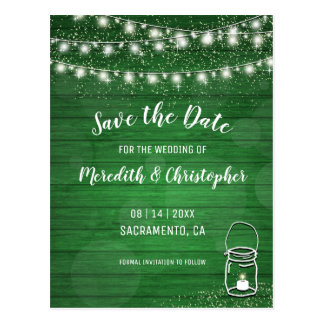 Green Rustic Wood String Lights Mason Jar Wedding Postcard