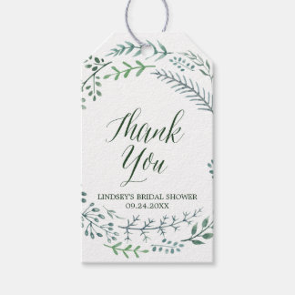 Green Rustic Wreath Bridal Shower Thank You Gift Tags