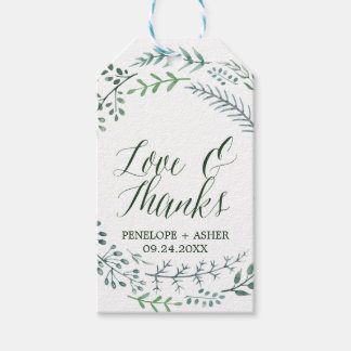 """Green Rustic Wreath """"Love & Thanks"""" Wedding Gift Tags"""
