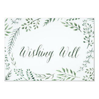 Green Rustic Wreath Wedding Wishing Well Card