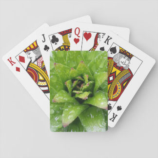 Green Sacred Geometry Baby Lily w Rain Drops Playing Cards