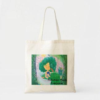 Green Sad  Earth Baby!! Pollution Hurts Everyone! Tote Bag