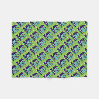 Green Sad Robot Pop Art Fleece Blanket